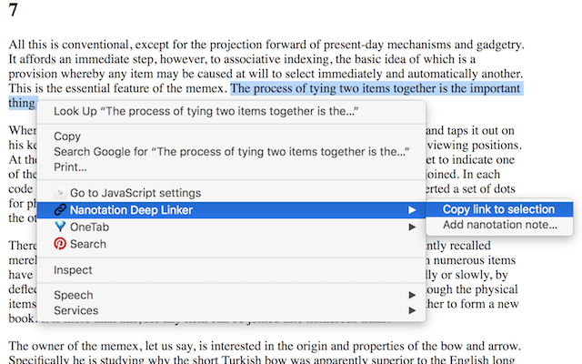 Just select a text passage on any web page, and copy the link or add a note.